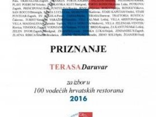 Restaurant Terasa in the top 100 Croatian restaurants