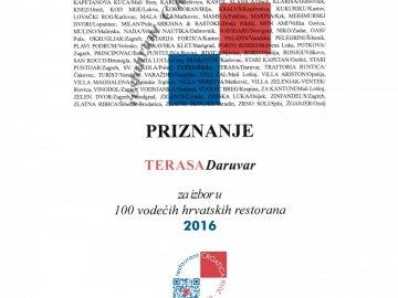 Restoran Terasa ponovno među 100 vodećih restorana u Hrvatskoj